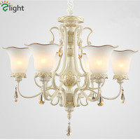 2015 European Roayl Pastoral Painting Resin And Frosted Glass Chandelier Modern K9 Crystal Simple LED Chandelier