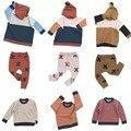 BBK 2016 Minúsculo algodões crianças camisola menina Xadrez listras Hedging camisola de malha meninos crianças Puxar Garcon Cardigan casaco Camisola
