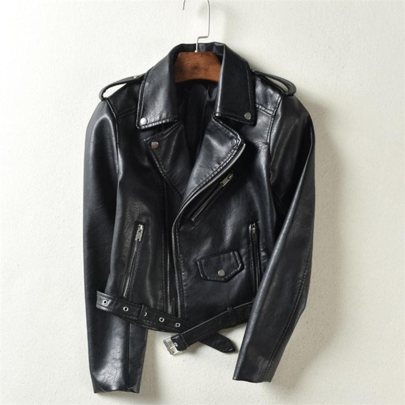 3XL Ladies Short Motorcycle pu   leather   jacket Korean version of the suit collar zipper fashion Slim was thin pu   leather   jacket