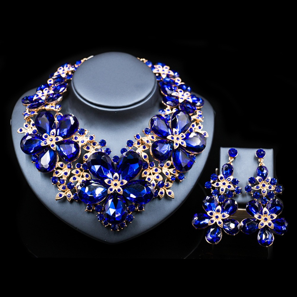 LAN PALACE parure bijoux femme wedding decoration jewelry set Austrian crystal necklace and earrings free shipping