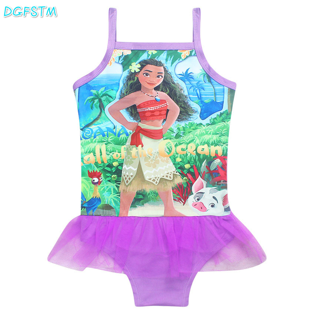 7f9a3628b3 2017 Trolls Baby Girls Kids Swimming Bikinis type swimsuit one piece lace  sweet Bathing Suit Swimsuit&Piece biquini Moana dress