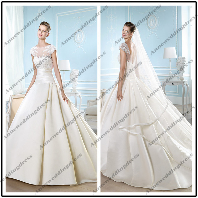 d1c30747995 WL10238 High quality sleeveless boat neck ball gown floor length chapel  train pleated satin beaded lace wedding dress