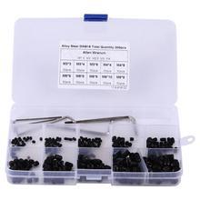 300pcs M3/M4/M5/M6/M8 Hex Socket Carbon Steel Set Screws Assortment Kit with Hex Keys wood screws 10pcs m5 10 black hex socket spring ball plunger set screws