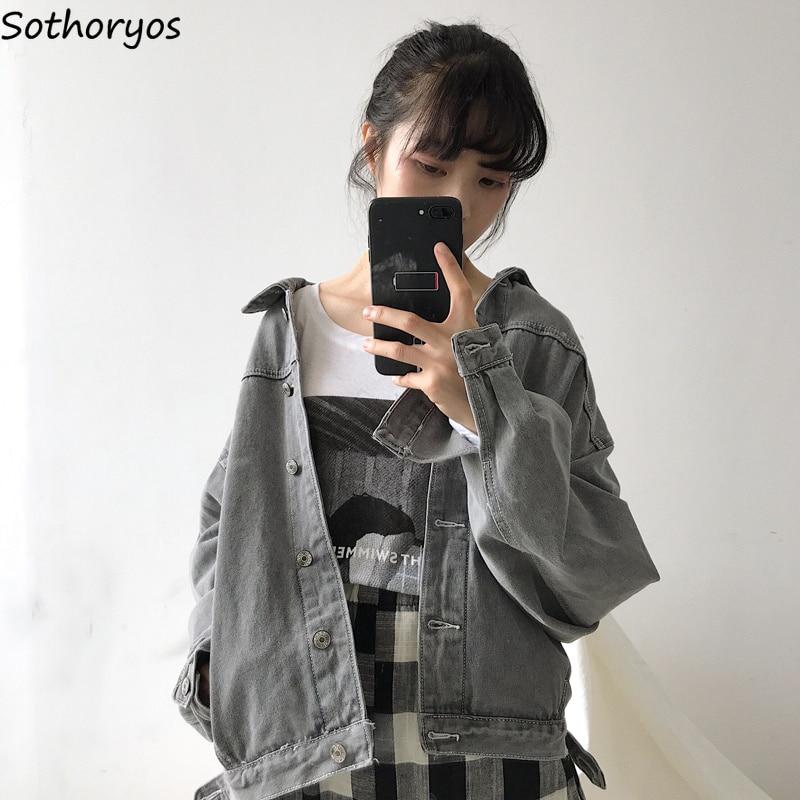 Jackets   Women Solid Simple Single Breasted Retro Students Trendy Coat Harajuku Loose Chic Womens Leisure Korean   Basic     Jacket