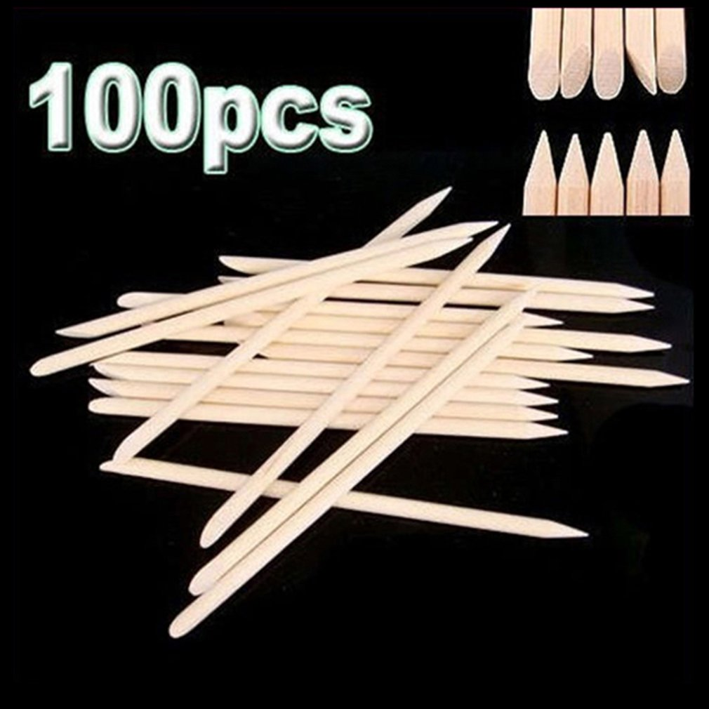 100pcs/set Women Double End Nail Art Wood Stick Cuticle Pusher Remover Pedicure Professional Nail Art Tool Set