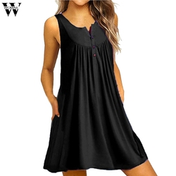 7a5c0670d Womail dress Summer Women Plus Size O Neck Casual Button Sleeveless Above  Knee Dress Loose Party Mini Dress 2019 dropship M11