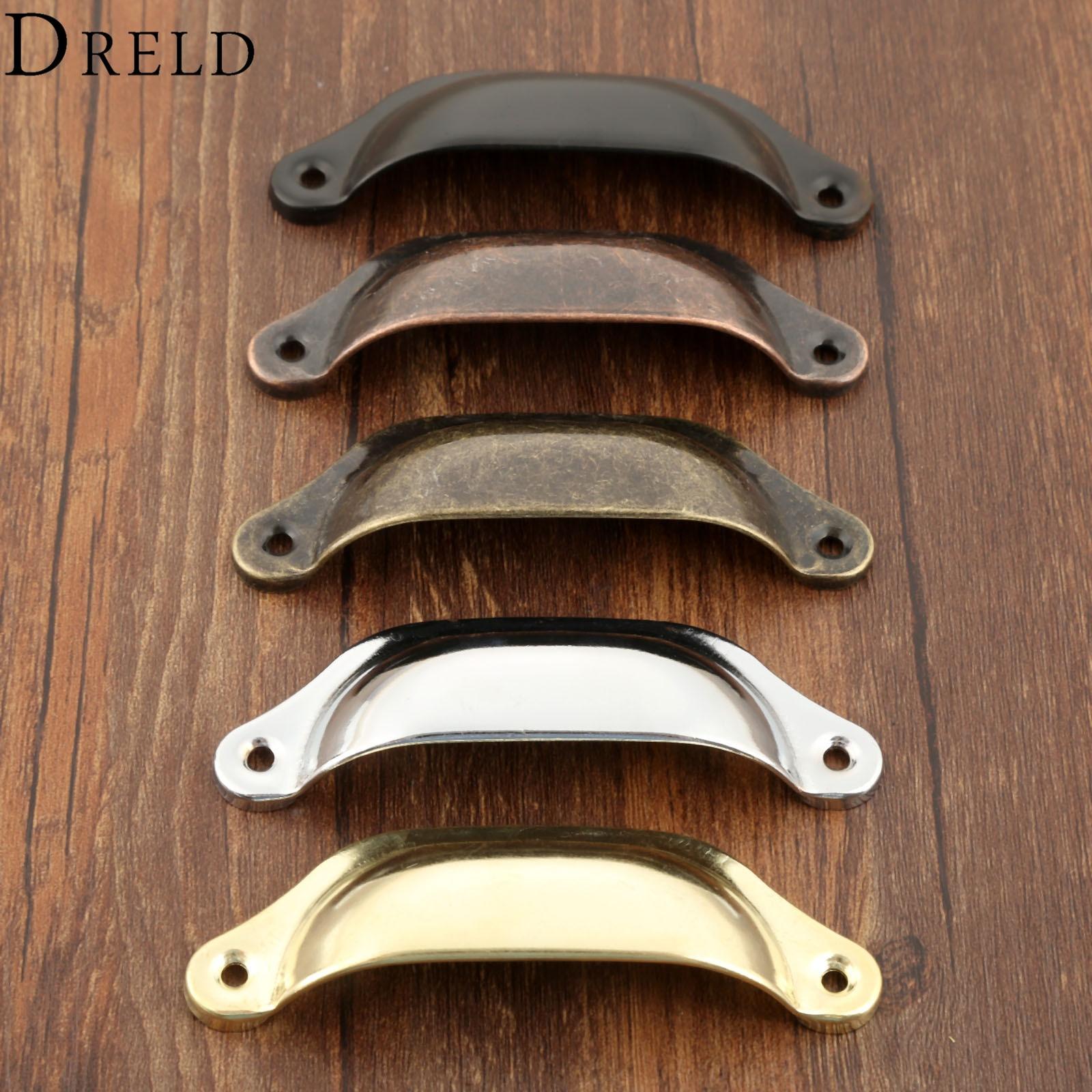 Dreld 2pcs 98 35mm Retro Kitchen Drawer Cabinet Door Handle Furniture Knobs Hardware Cupboard Antique Brass Shell Pull Handles