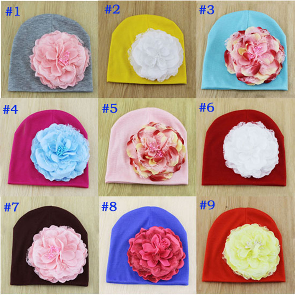 Retail Baby Infant Flower Cotton Beanies Baby Hat Big Flower Toddler Skull Cap Photography Props MH075 ...
