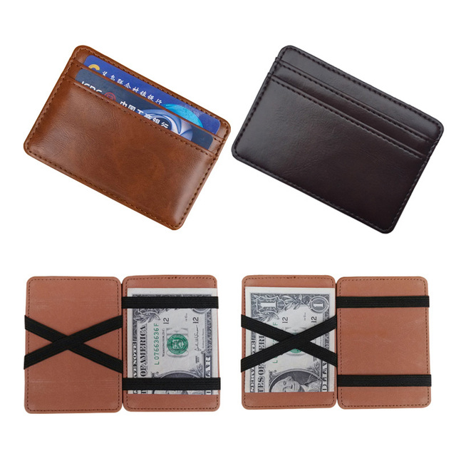 2019 nueva llegada de cuero de alta calidad magia billeteras de los hombres de la moda clips de dinero de la tarjeta de dinero en efectivo de 2 colores