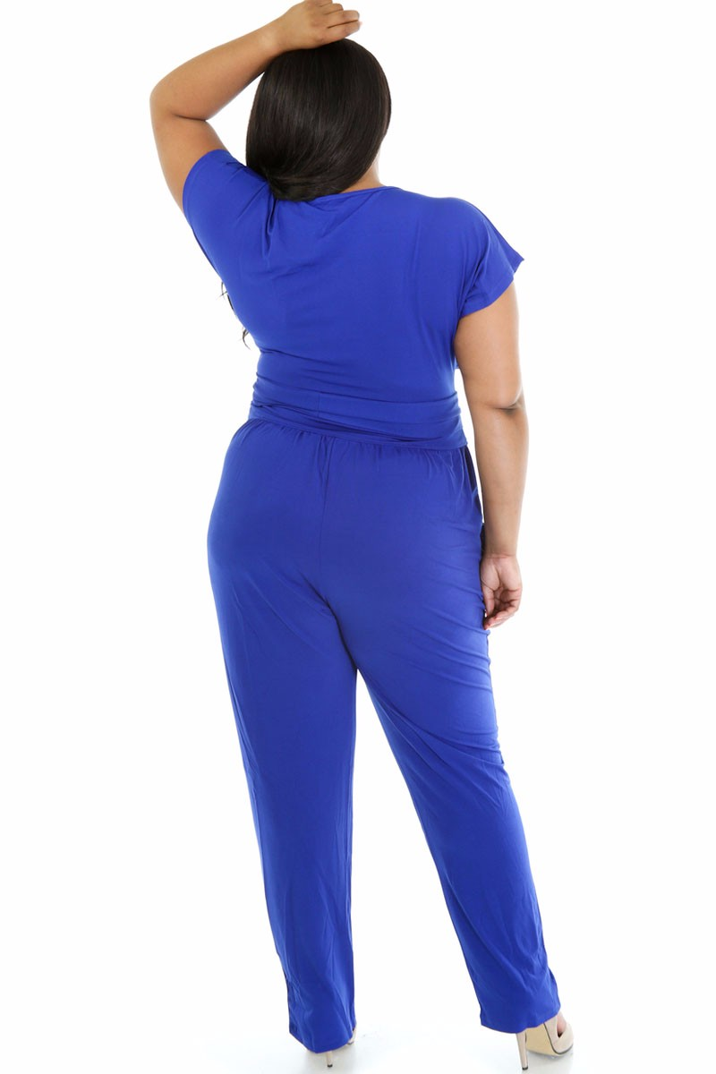Blue-Plus-Size-Belted-Jumpsuit-LC60487-1-2