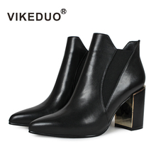 VIKEDUO New Women High Heel Boots Black Genuine Leather Chelsea Boot Ladies Handmade Shoes Autumn Fashion Pumps Sapatos Mujer