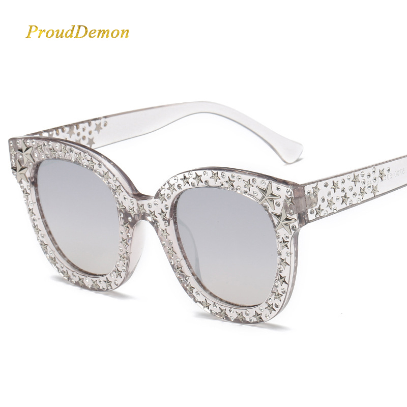 Prouddemon New Arrival Star Diamond Sunglasses Women Fashion Brand Oversize Square Clear Frame Black Lens Sun Glasses For Lady in Women 39 s Sunglasses from Apparel Accessories
