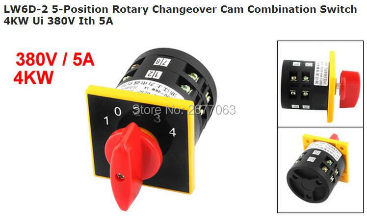 LW6D-2 5-Position Rotary Changeover Cam Combination Switch 4KW Ui 380V Ith 5A ui 660v ith 80a on off 2 position universal rotary cam changeover switch
