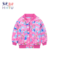 HHTU 2018 Baby Girls Coat Children Clothing Autumn Spring Zipper Windproof Jacket Kid Clothes Pink 701185