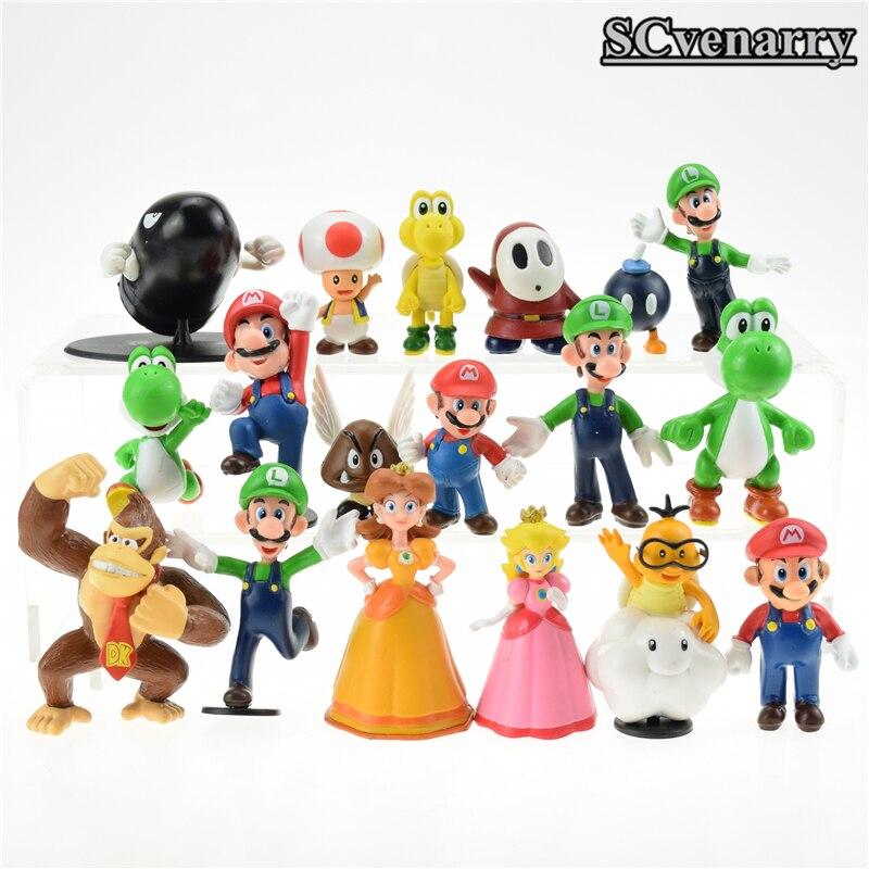 18 pcs//lot cute Super Mario Bros yoshi dinosaur Peach toad Goomba PVC Doll Toys