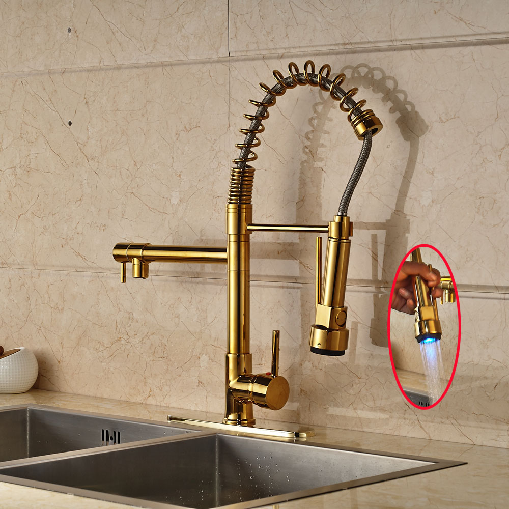 Gold Polished Kitchen Sink Faucet Swivel Spout Pull Out Mixer Tap with Cover Plate golden brass kitchen faucet dual handles vessel sink mixer tap swivel spout w pure water tap
