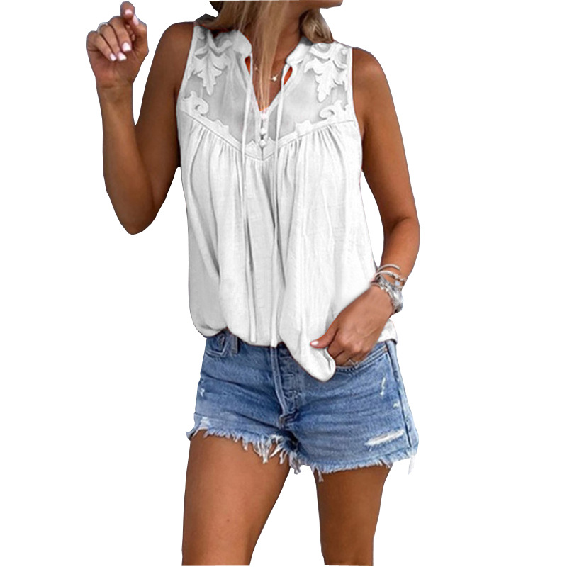 2019 Summer Vogue Women Sleeveless Sexy Shirts Casual Flower Embroidery Boho Office Ladies Black White Blouse Tops Plus Size 5XL