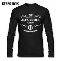 Hommes Le D'origine Alfa Romeo Coupe Décontractée T Shirt Italie Adolescente Pré-Coton À Manches Longues O Cou T-Shirts Imprimé homme T-shirts