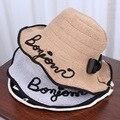 Mujeres Carta Diseño de la Playa Del Verano de Paja de Papel Sombrero Del Cubo de Boonie Sombreros de Pescador, Sun Protection Pesca Bucket Cap Hat Para chica