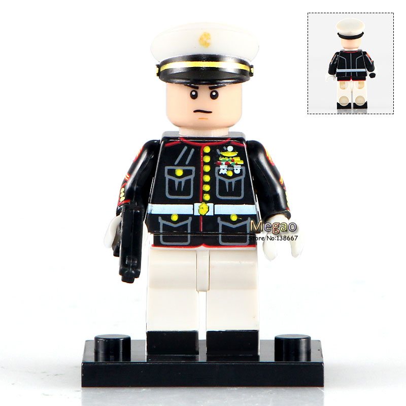 Fast Deliver 20pcs Marine Corps Policeman White Blue Coat Special Duties Unit Building Blocks Bricks Classic Learning Education Baby Toy Blocks Toys & Hobbies