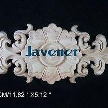L6-30x13 см деревянные резные длинные Onlay аппликация Неокрашенная рама, дверь наклейка рабочий плотник цветок