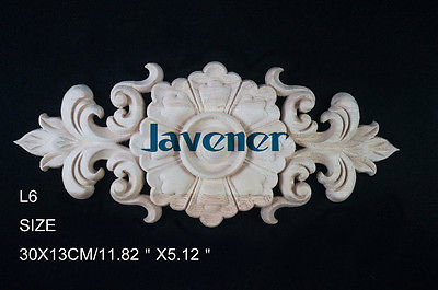 L6 -30x13cm Wood Carved Long Onlay Applique Unpainted Frame Door Decal Working Carpenter Flower