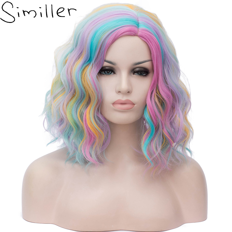 Similler Anime Kinky Curly Short Wigs Rainbow Colorful Synthetic Wig For Women Lolita Cosplay Halloween Black White