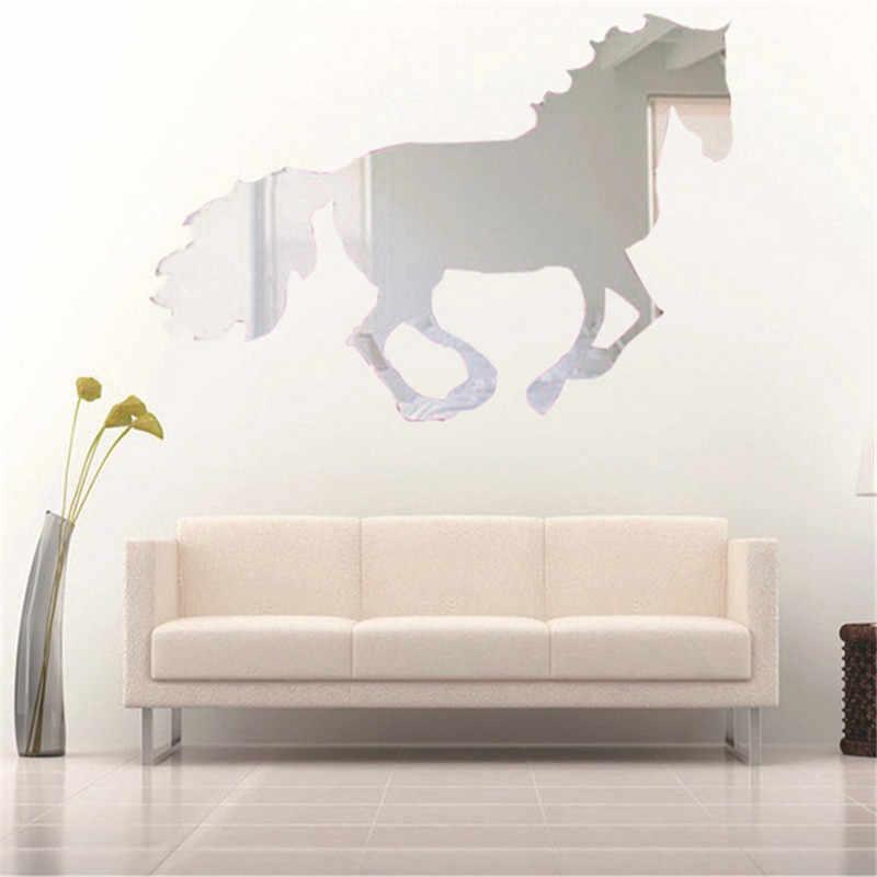 الحصان مرآة حائط الخلفية ملصقات التلفزيون ملصقات جدار ثلاثي الأبعاد الزخرفية الإكسسوارات المنزلية 2019 جديد