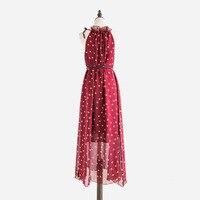 Vestidos de festa Fashion Women's Polka Dots Maxi Dress With Belt Long Casual Summer Beach Chiffon Party Dresses Cheap