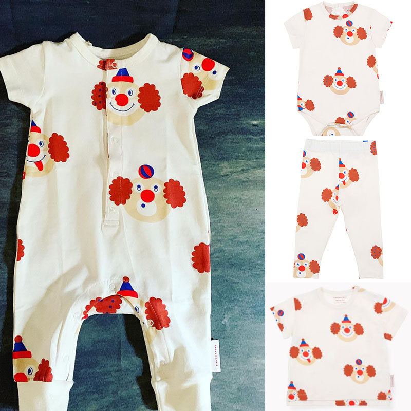 2019 Tiny Cottons Baby   Romper   And Sets Boys Girls Summer Clown Print One-piece Tiny Cottons Kid Clothing New Born Baby   Romper