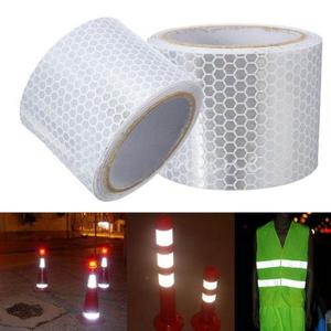"Image 3 - 2 ""× 3メートル銀白色反射安全警告ジャケットテープハニカム環境フィルム材料交通安全"