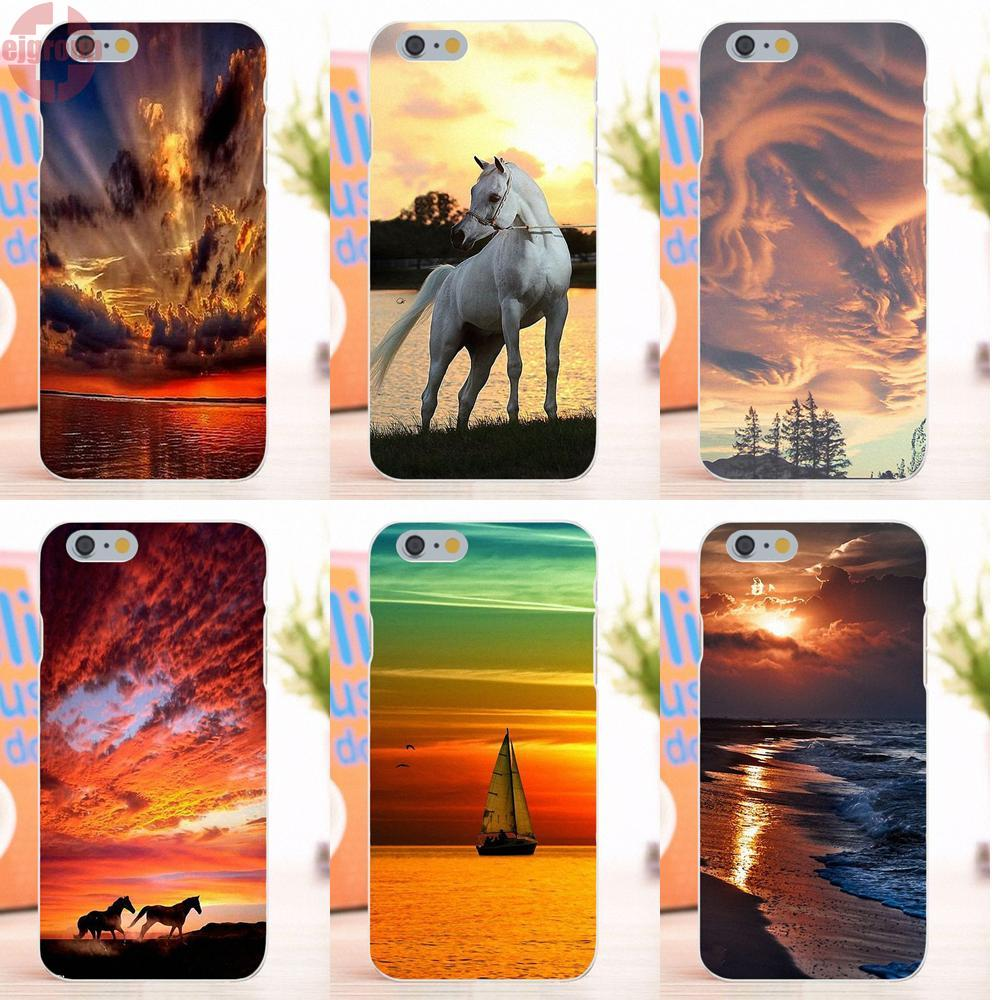 EJGROUP For Apple iPhone 6 6S 4.7 inch Soft TPU Silicon Cool Best Horse Sunset Clouds
