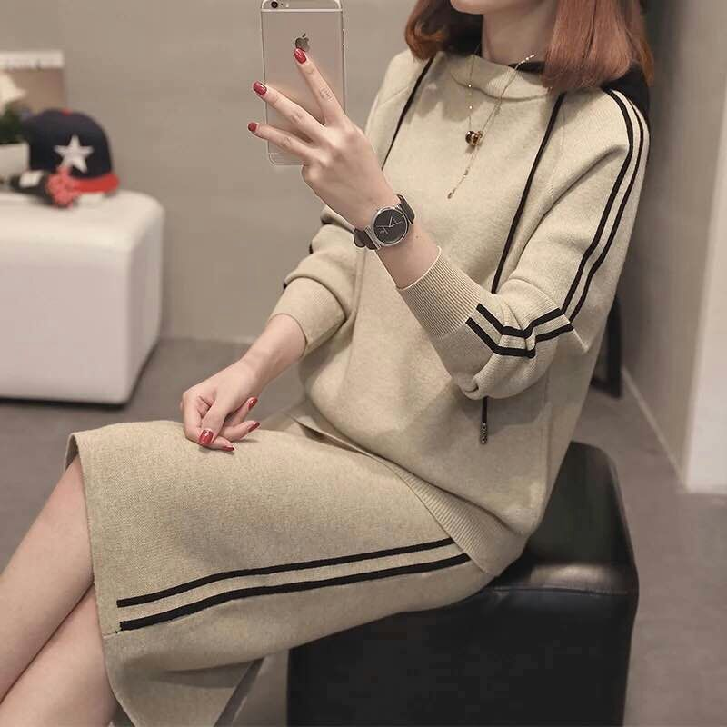 SWYIVY Woman Sweater Dresses Sets Hooded 2018 Autumn Winter Female Casual Clothing Knit Wear Sweaters Long Sleever Pullover