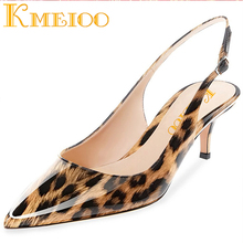 Kmeioo Sexy Women Pumps Shoes Leopard Thin Heels Woman Party Shoes Brand Plus Size Pointed Toe Ankle Strap Single Female Pumps original intention sexy women pumps stylish glitter pointed toe thin high heels pumps multi colors shoes woman plus us size 4 15