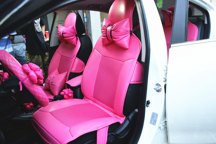 Lovely Woman Four Seasons Fashion Charming Personality Pink Red Leather Universal Car Seat Cover Set In Automobiles Covers From