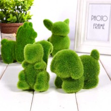 Lovely Animal Shape Simulation Green Grass Ornaments Emulational Plant Bonsai Decoration For Home Garden