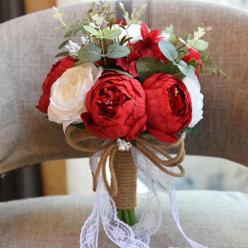 Buatan Camellia Satin Roses Pengantin Pernikahan Bunga Pengantin Karangan Bunga Baru Pernikahan Bunga Pernikahan Bouquet Kualitas Tinggi