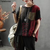 Letter Embroidery Short sleeve T shirts for woman Cotton Summer Tees Loose Tees Vintage Retro Short sleeve Tops A0B2Z40