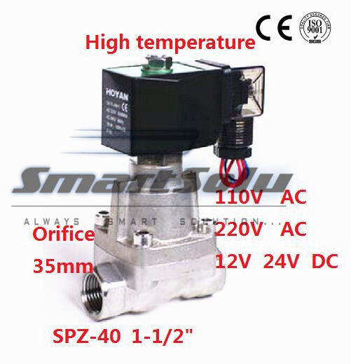 Free shipping SS304 Pilot Piston Normally Closed 12V DC Two Way Solenoid Valve for Air Liquid Steam 1-1/2 35mm SPZ-40 PTFE Seal free shipping normally closed solenoid valve 2v025 08 220vac 1 4 high qulity for water air gas 2v sereis two way valve