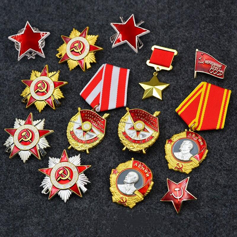 Kompletny zestaw II wojny światowej radziecki lenina czerwona flaga wenus radziecki CCCP odznaka jugosłowiańskiej partyzantki czerwona gwiazda Medal wielki czerwony w Przypinki i odznaki od Dom i ogród na  Grupa 1