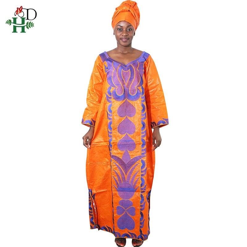 low cost e7d7f af41f Africa abbigliamento ricamo bazin vestito le donne africane delle donne  vestiti di cotone abito lungo robe africain femme