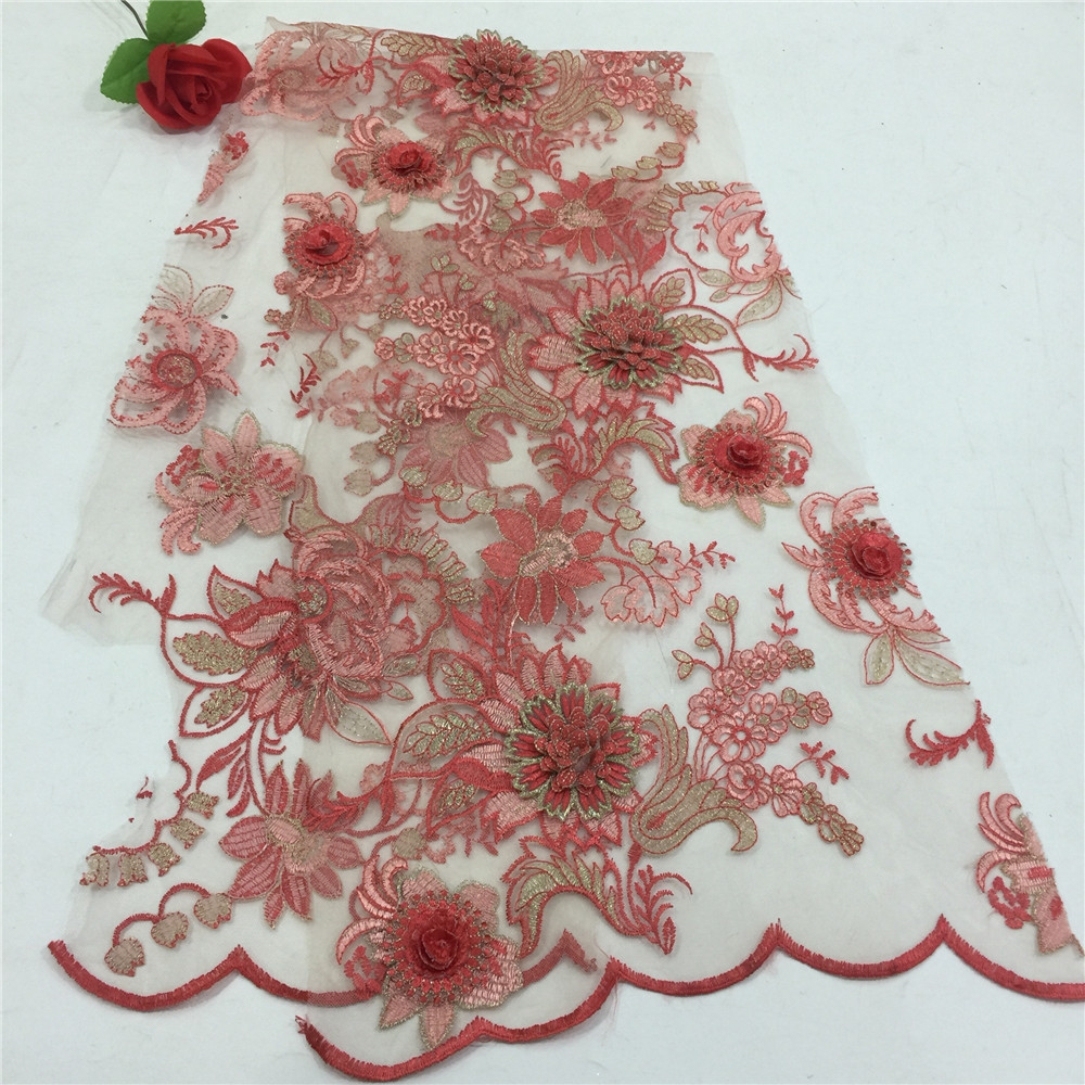 Luxury Gold Thread 3d Applique African French Red Embroidery Net Lace Fabric For Girlss Dress X563-4Luxury Gold Thread 3d Applique African French Red Embroidery Net Lace Fabric For Girlss Dress X563-4