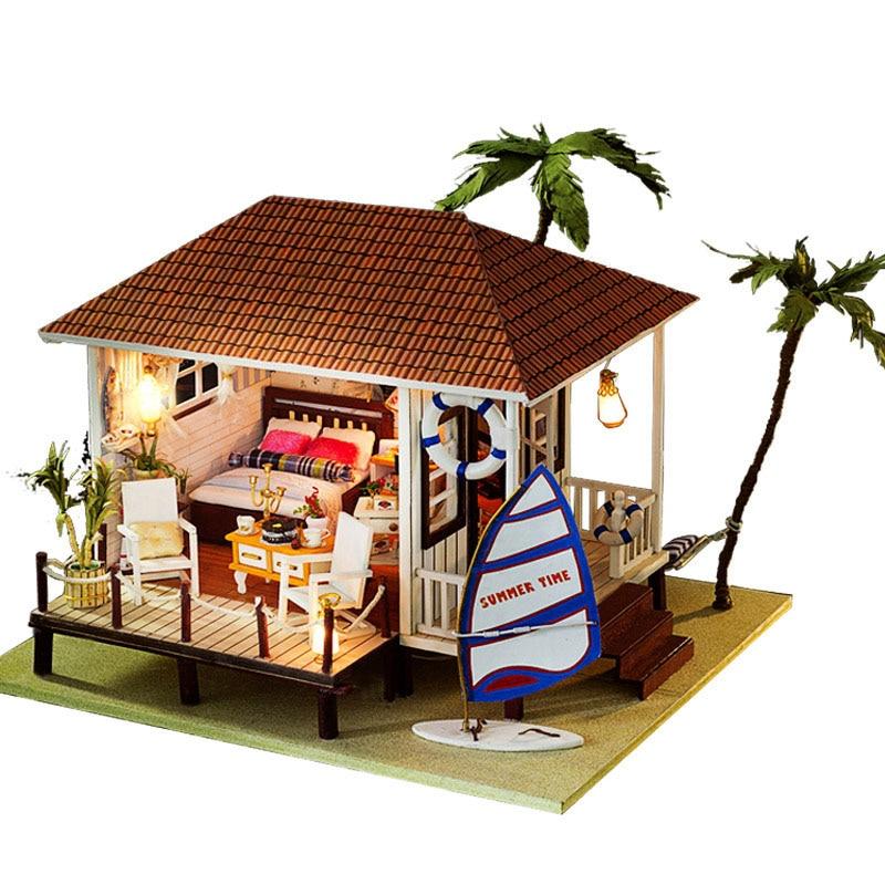 Miniature Wood Dollhouse Seaside Holiday Hut Furniture Kit Home Decor DIY Mediterranean Doll House Music Toy Xmas Birthday Gift