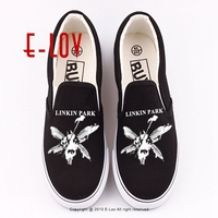 New Arrival Hip Hop Women Fashion Flat Shoes 2017 Street Style Canvas Shoes Printed LINKIN PARK
