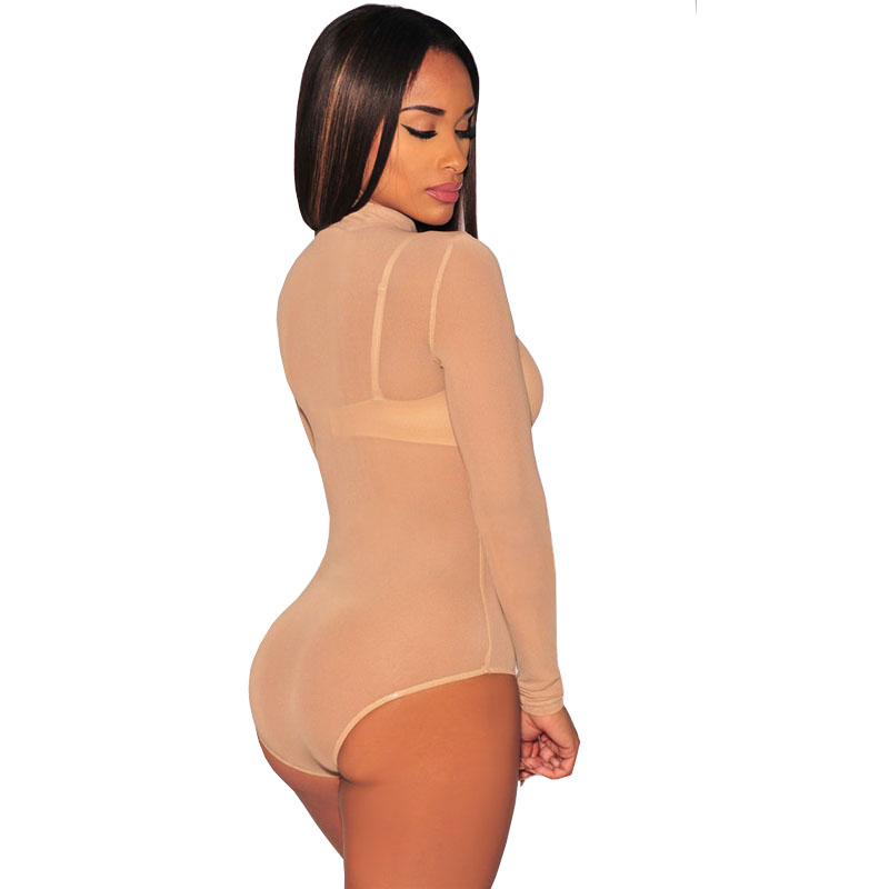 531e229d70 Aliexpress.com   Buy Nude Transparent Sexy Bodysuit Women Rompers Bodycon  Jumpsuit Long Sleeve Mesh Bodysuit Sheer See Through Turtleneck Bodysuits  from ...