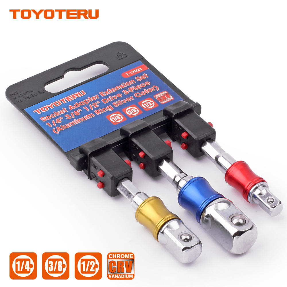 3Pcs 1//4 3//8 1//2 Hex Shank Bit Square Power Drill Cordless Impact Sockets Bit Set with Color Coded Ring,Power Extension Bit Set for Drills,for Universal Socket,Extension Bar Set,Automotive
