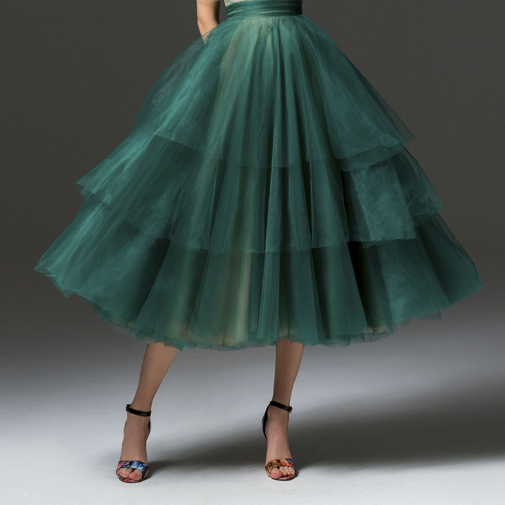 High Street Green Ruffles Tiered Tulle Skirts Women 2019 Ankle Length Fashion Tutu Skirt Zipper Saias Faldas Mujer Moda 2018