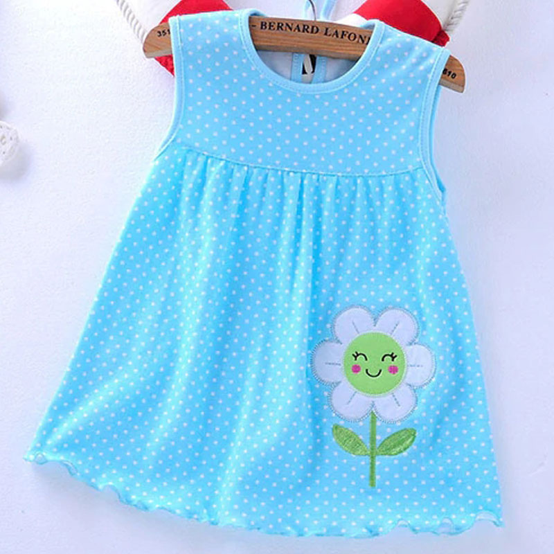 2f02e7029456 2018 New Summer Cotton Baby Girls Cartoon Long Sleeves Dress Children s  Clothing Kids Princess Dresses Casual Clothes 0-2Years