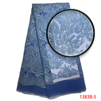 2018 High Quality French Lace Fabric Nigeria Mesh Embroider Net Blue Sequins Textile African Party Dress