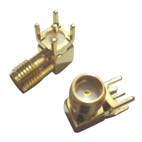 50x Gold SMA female right angle solder PCB mount RF connector Adapter bnc female right angle panel mount plastic type white pc board pcb mount right angle bnc female with nut bulkhead connector 3pcs